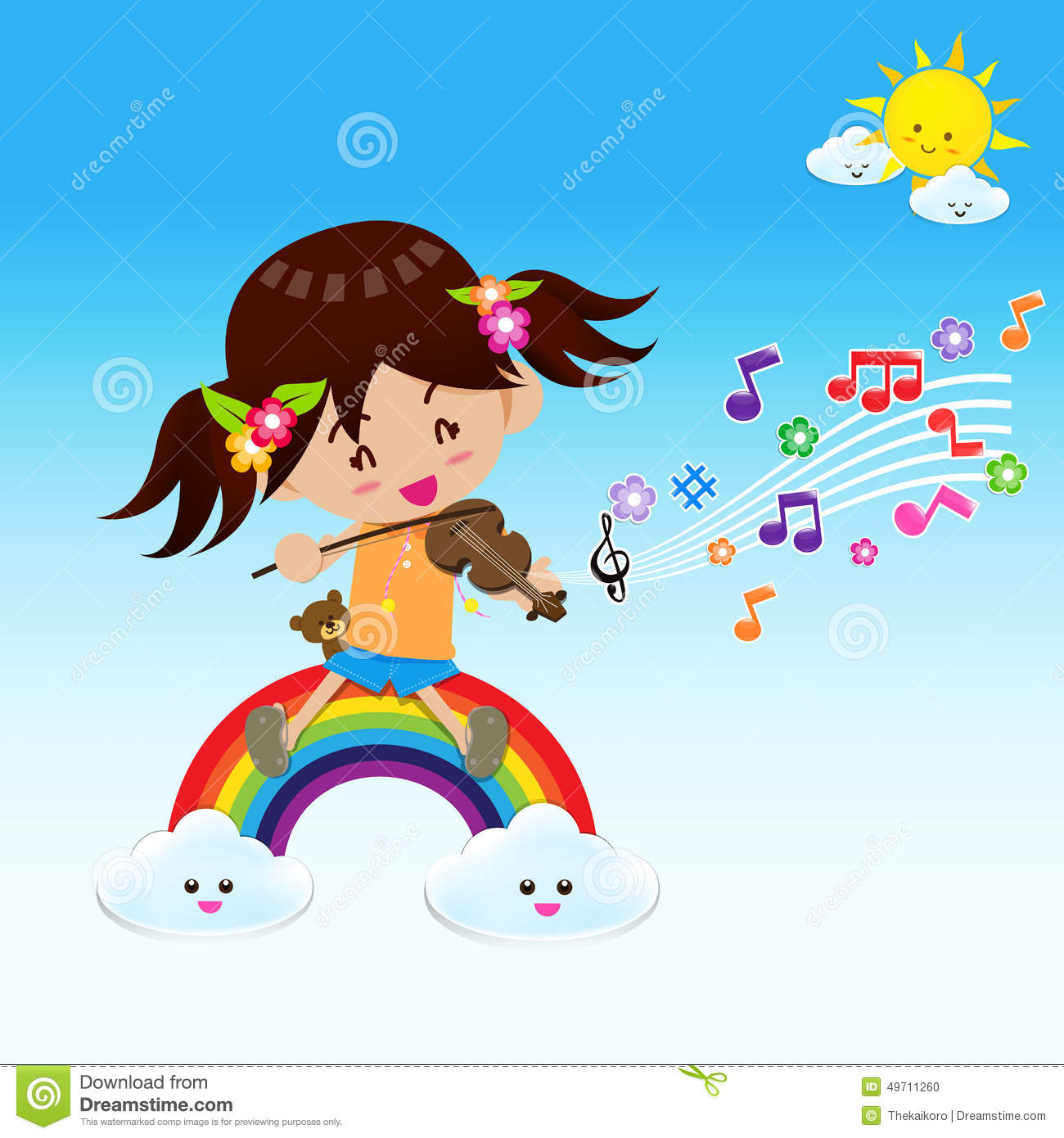 Cute Girl Play Music With Sun Rainbow And Cloud Stock Illustration.