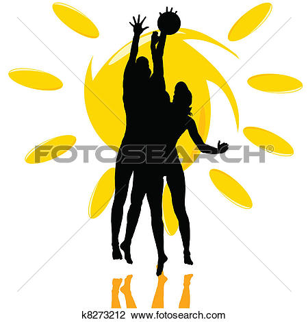 Clipart of volleyball play two girl silhouette on the sun k8273212.