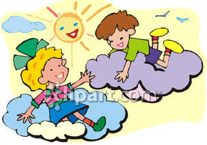 Playing on Clouds In the Sun Royalty Free Clipart Picture.