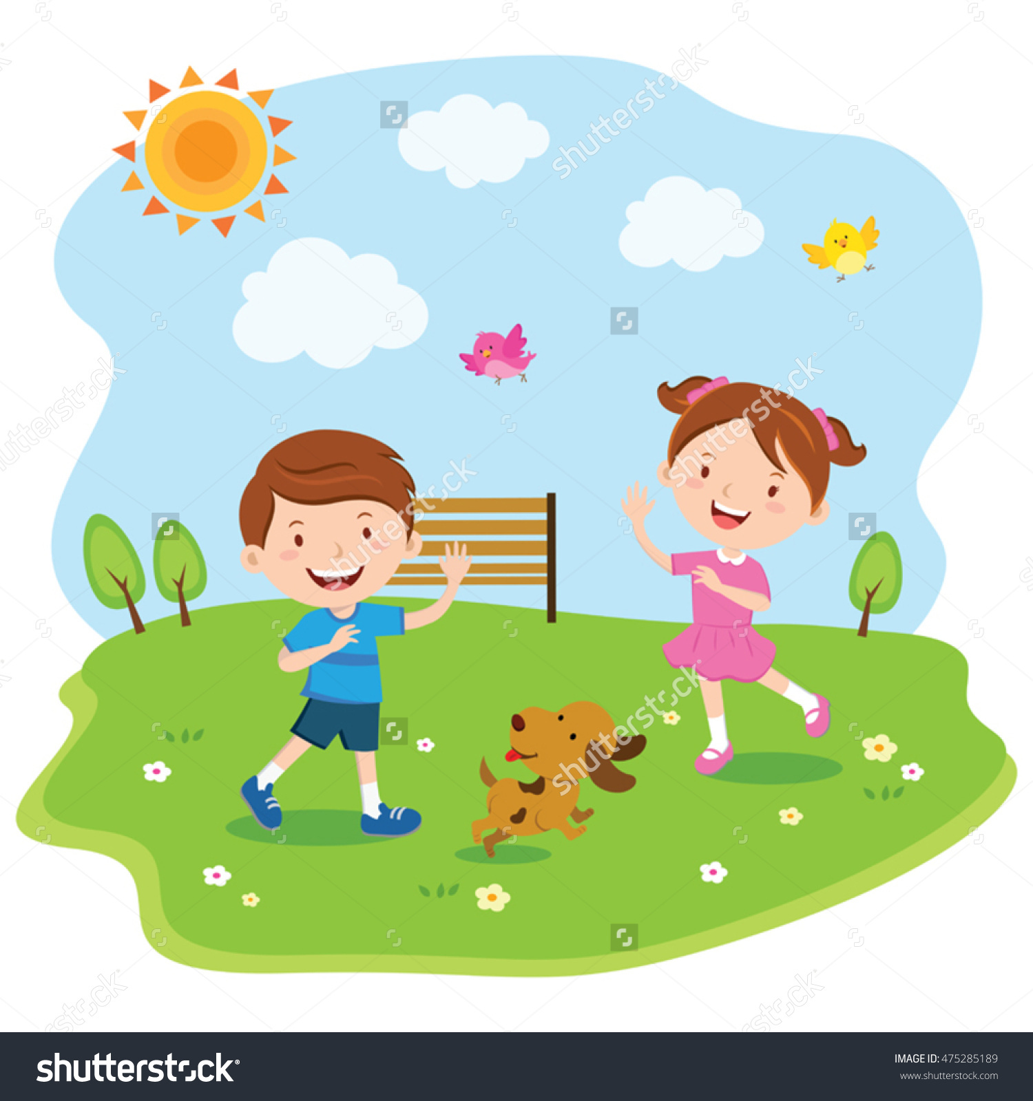 Happy Kids Playing Under Sun Vector Stock Vector 475285189.