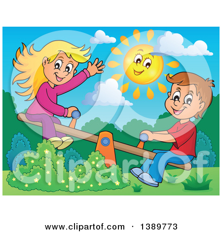 Clipart of a Happy Sun over a White Boy and Girl Playing on a See.