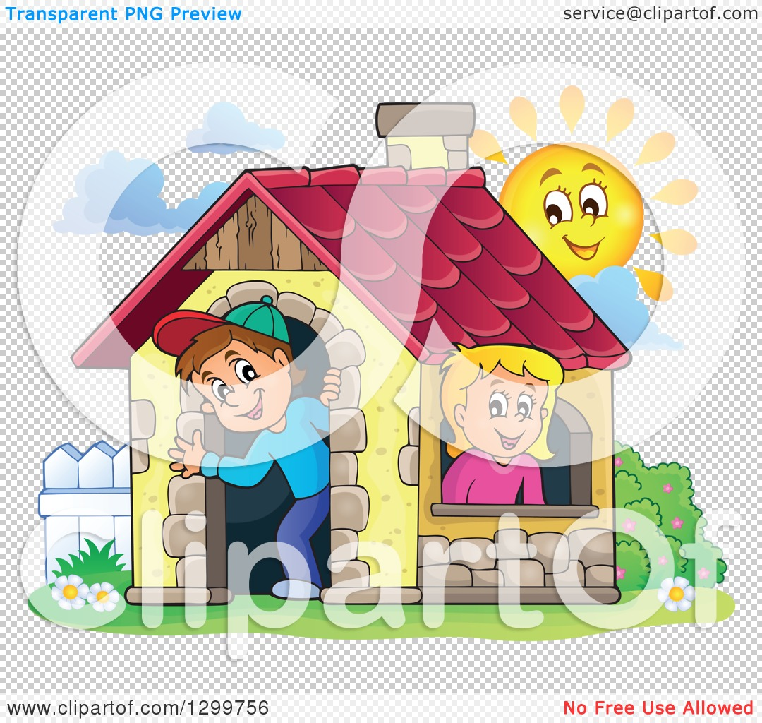 Clipart of a White Boy and Girl in a Play House with a Sun.