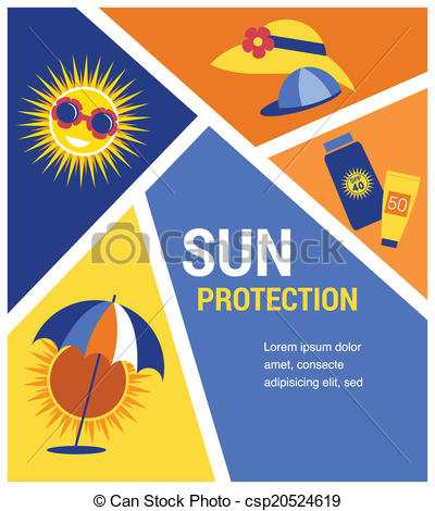 Vector Clip Art of sun protection at summer time. vector.