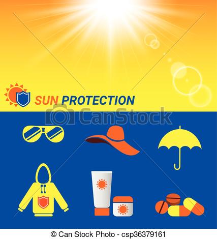 Clip Art Vector of Item for Sun protection and sun shine.