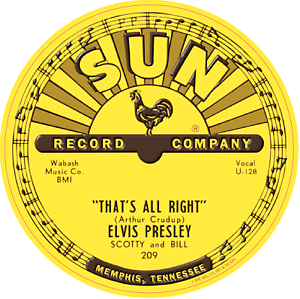 Details about SUN RECORDS ELVIS PRESLEY THATS ALRIGHT VINYL STICKER LABEL  85mm QUALITY.