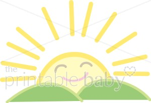 Smiling Sun Rising Clipart.