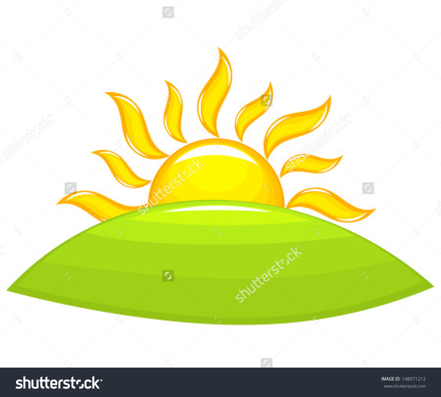 Sun Rising Above Green Hill Vector Stock Vector 148071212.