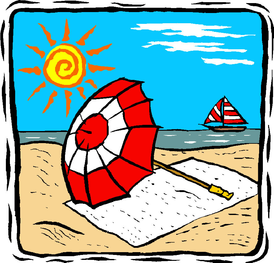 Sunny beach day with people sun safety clipart.