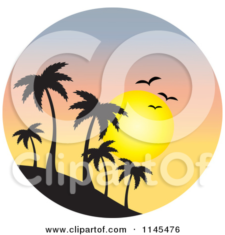 Clipart of a Circle Scene of Gulls and a Sunset over a Sailboat.