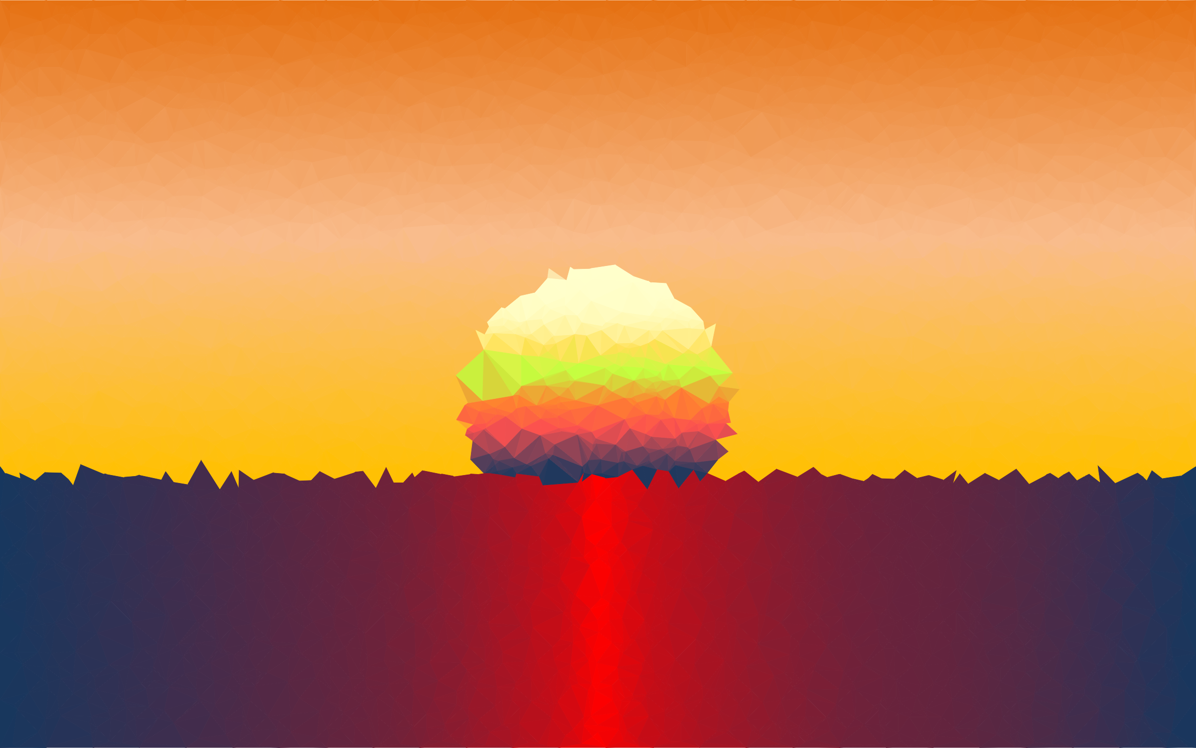 Clipart Low Poly Simple Sunset Scene.