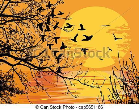 Clip Art Vector of Sunset scene.