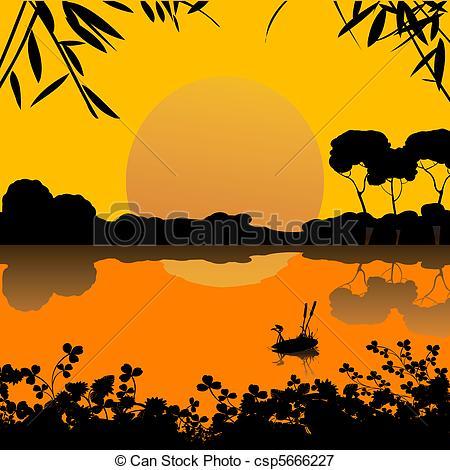 Vectors Illustration of sunset on a lake scene.