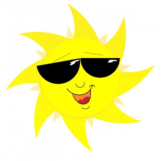 Smiling Sun Face In Sunglasses Free Stock Photo.