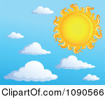 Clipart Blue Sky With Puffy Clouds.