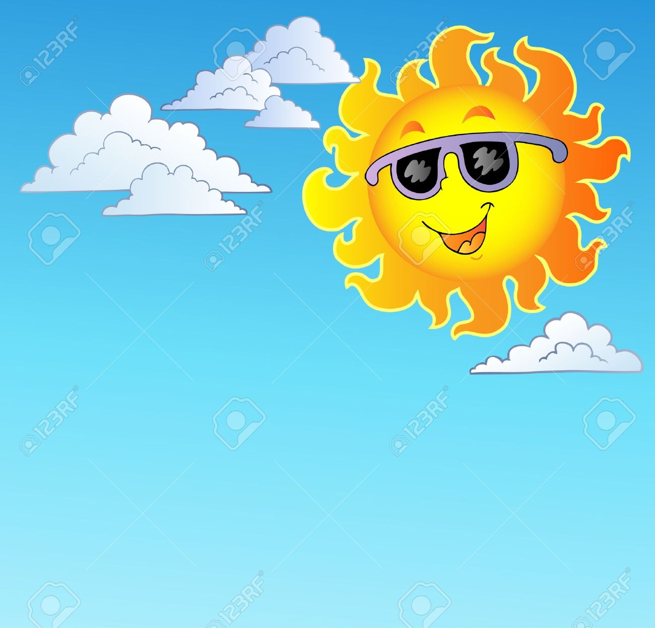 Happy Sun With Sunglasses On Sky Royalty Free Cliparts, Vectors.