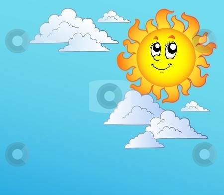 Blue Sky and Sun Clip Art.