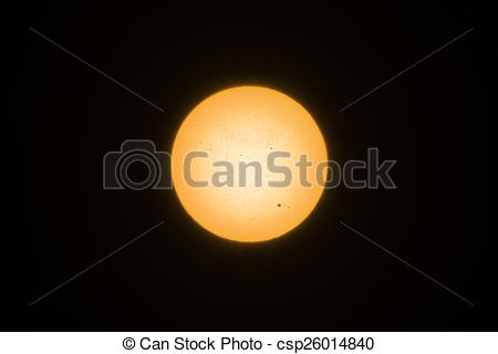 Stock Photo of Yellow sun with sunspots csp26014840.