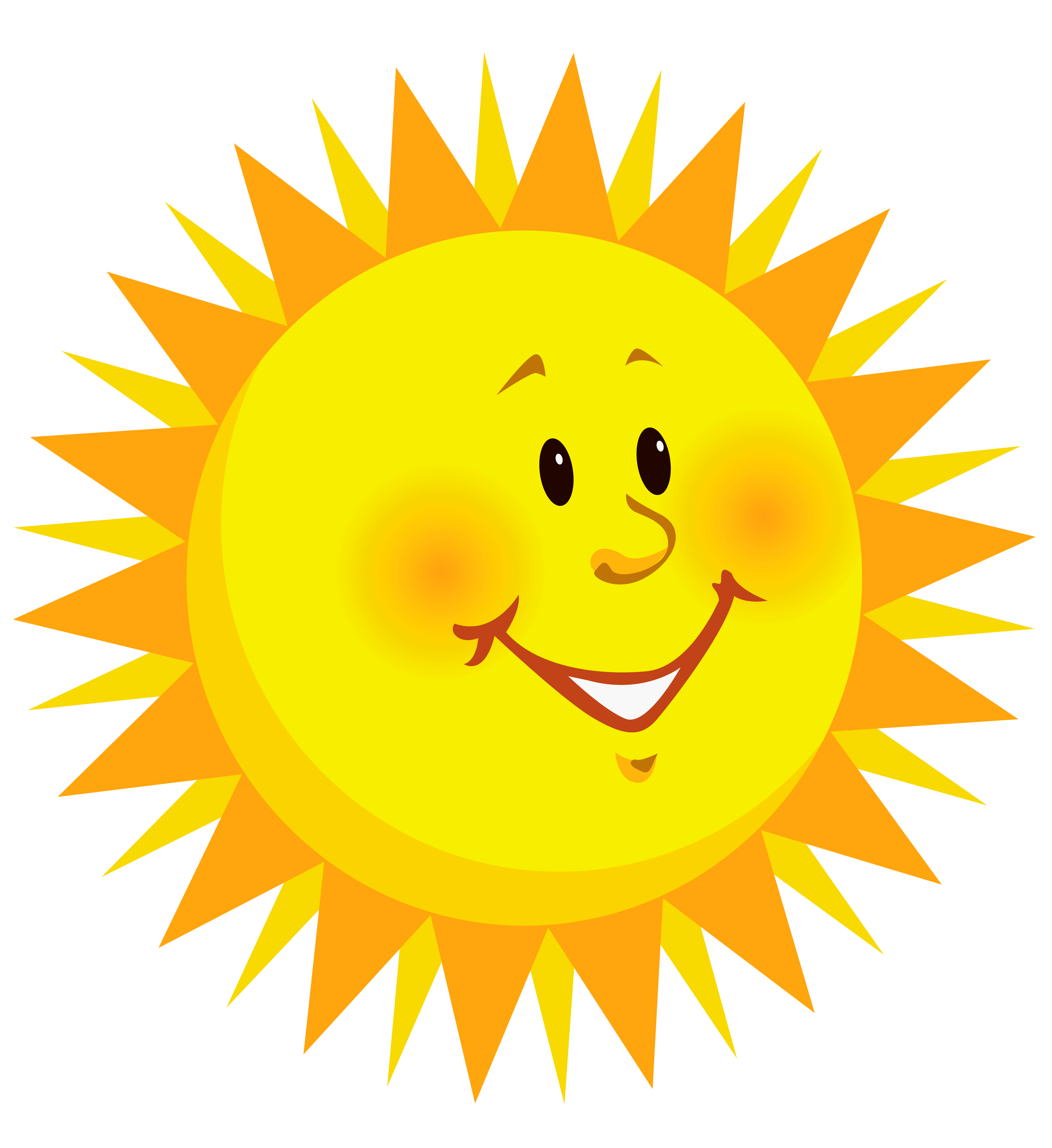 Transparent Smiling Sun PNG Clipart Picture.