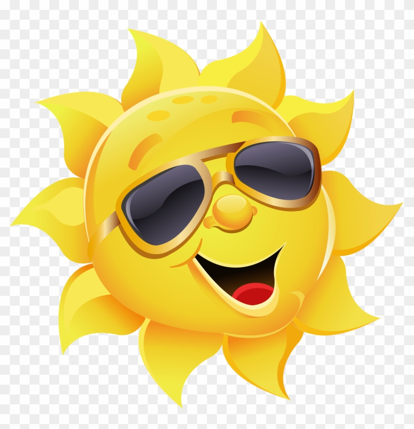 Sun With Sunglasses Png Clipart Image.