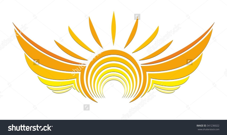 Sun Logo Wings Stock Vector 341236022.