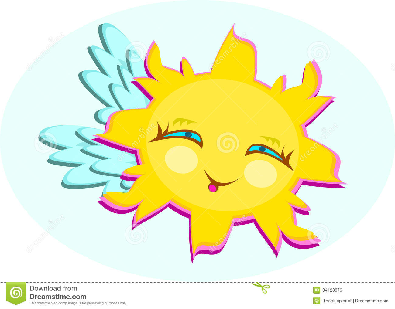 Sun With Wings And Cute Smile Royalty Free Stock Image.