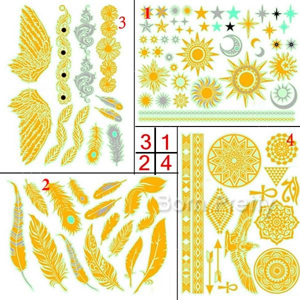 $1.99 1 Sheet Luminous Sun Wings Feather Tattoo Decals Body Art.