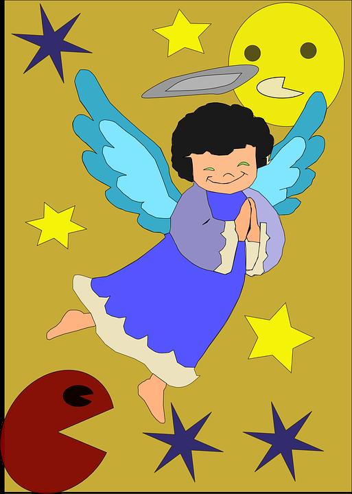 Free vector graphic: Angel, Heaven, Stars, Sun, Wings.
