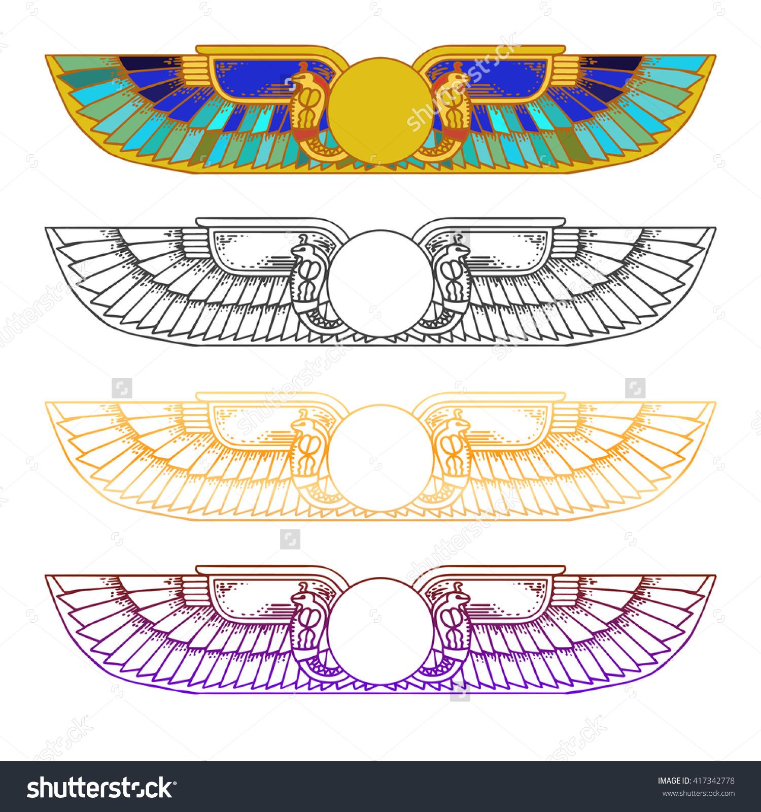 Handdrawn Vintage Tattoo Art Egypt Sun Stock Vector 417342778.