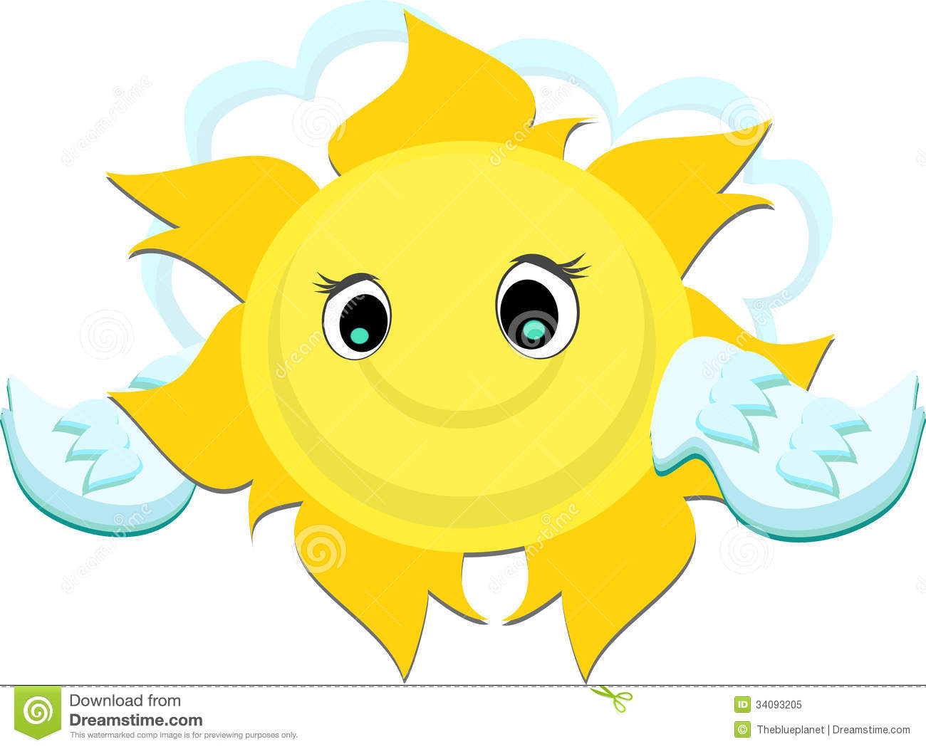 Happy Sun With Wings Royalty Free Stock Photo.