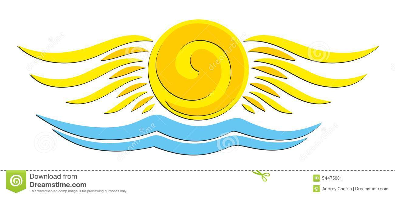 Sun Logo With Wings. Stock Vector.