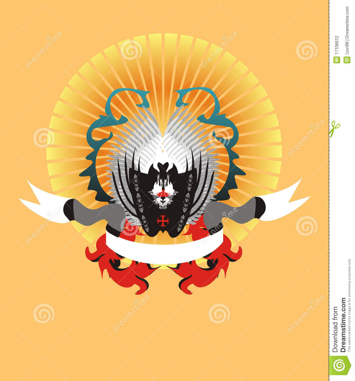 Coat Of Arms With The Sun And Wings Stock Photography.