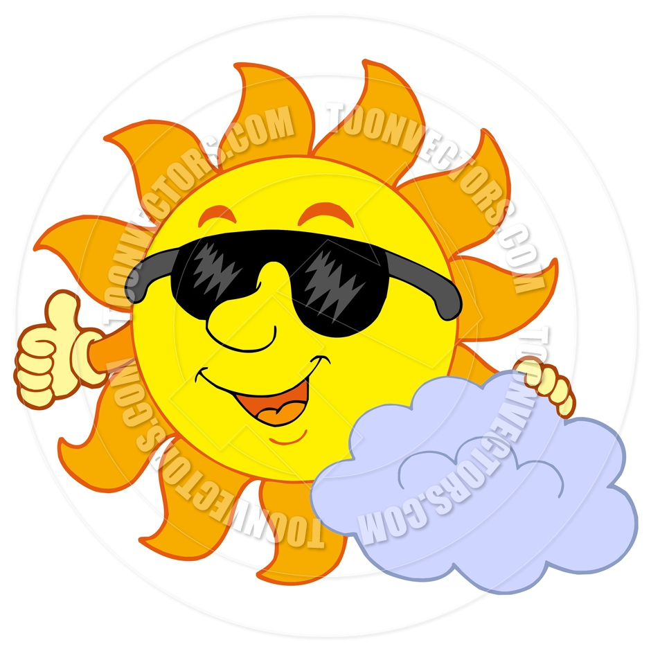 sun with cloud clipart #8