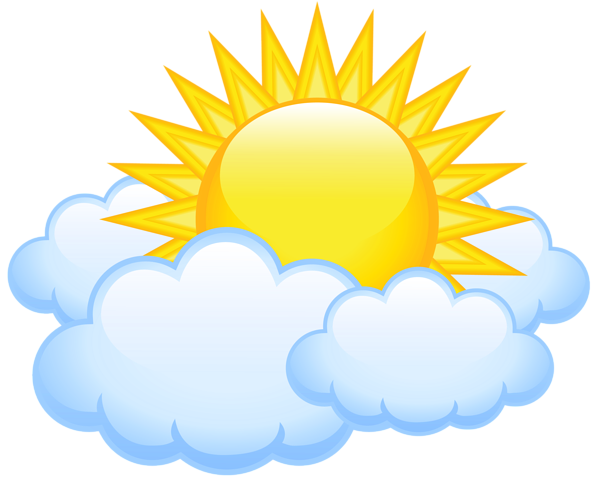 Sun with Clouds Transparent PNG Picture.