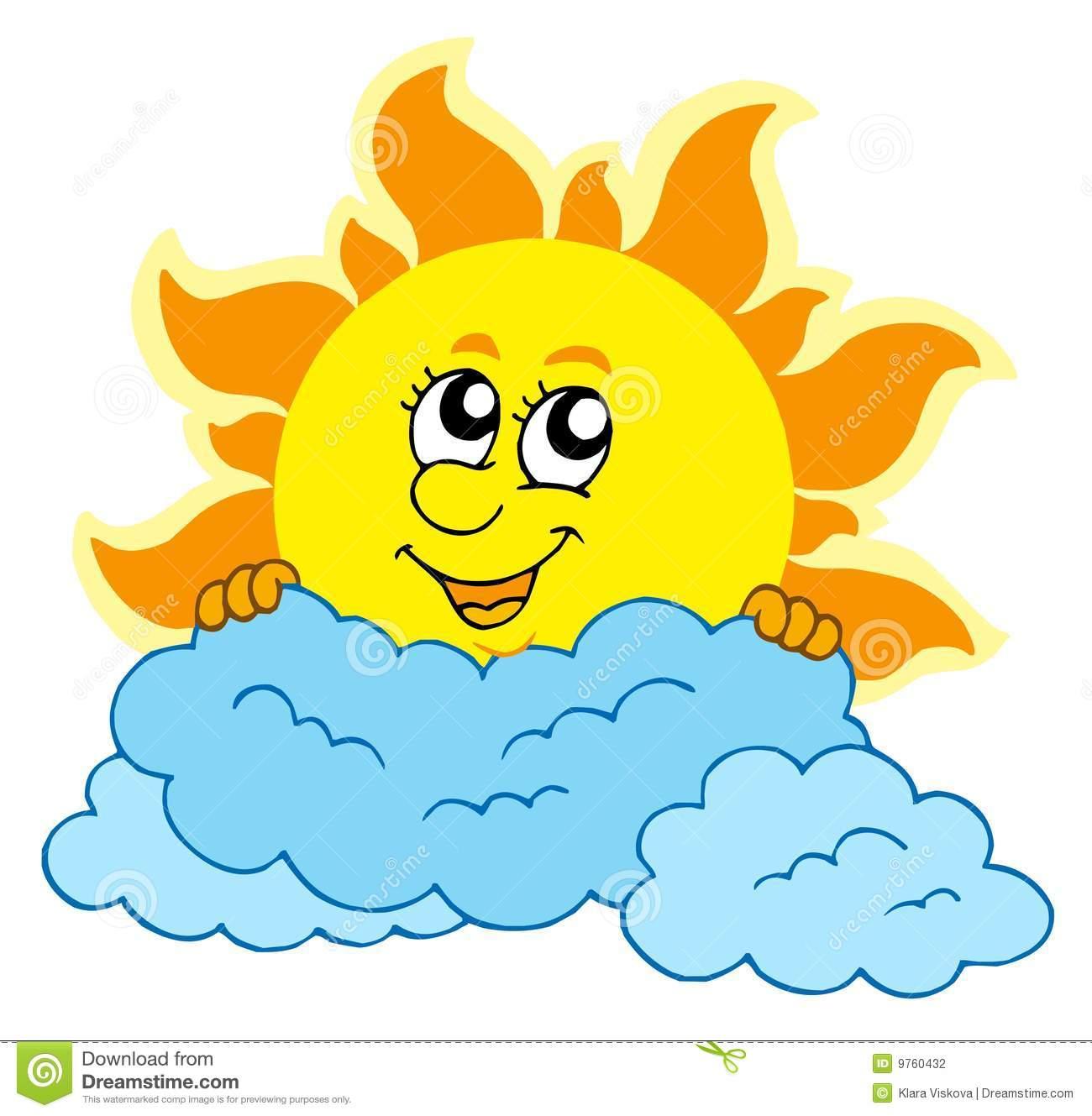 Cute Cartoon Sun With Clouds Stock Photography.