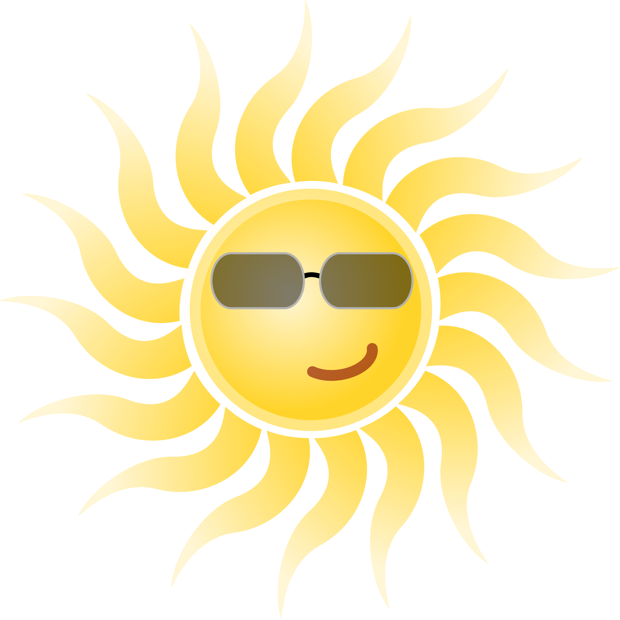 Sun Wearing Sun Glasses Clip Art.