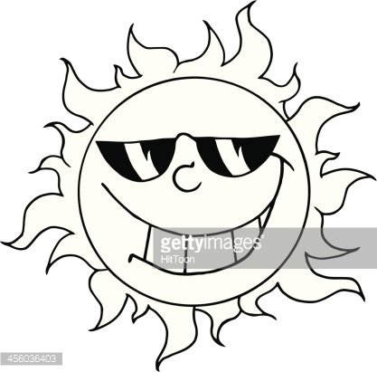 Black and White Happy Sun With Sunglasses Clipart Image.