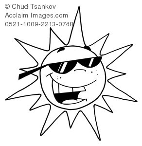 Sun With Sunglasses Clipart Black And White.