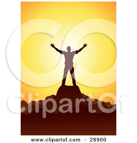 Clipart Illustration of a Man Silhouetted In Blue, Facing The Sun.