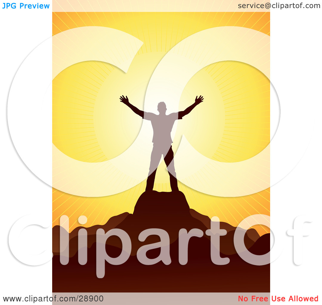 Clipart Illustration of a Man Silhouetted In Brown, Holding His.