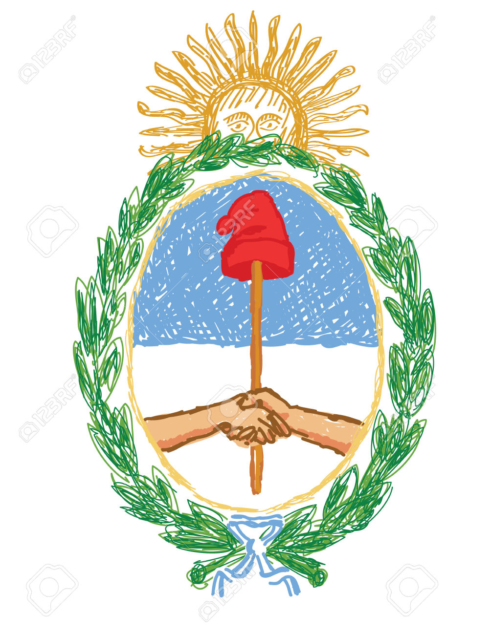 Isolated Hand Drawn Vector Emblem Of Argentina.