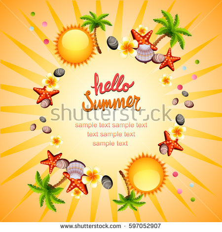 Seamless Background Watercolor Summer Symbols Stock Vector.