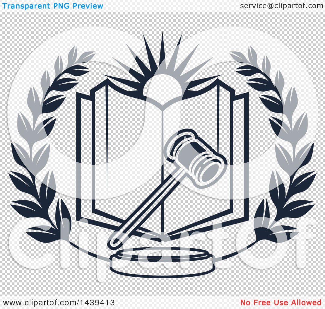 Clipart of a Gavel, Sun and Law Book in a Wreath.