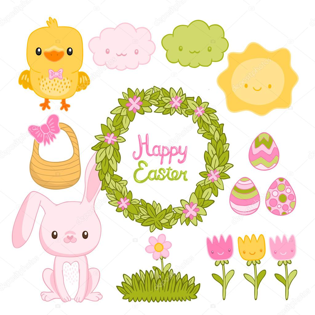 Easter set with bunny, chick, clouds, sun, flowers, basket, wreath.
