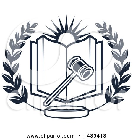 Clipart of a Navy Blue Laurel Wreath with a Crown and Legal Scales.