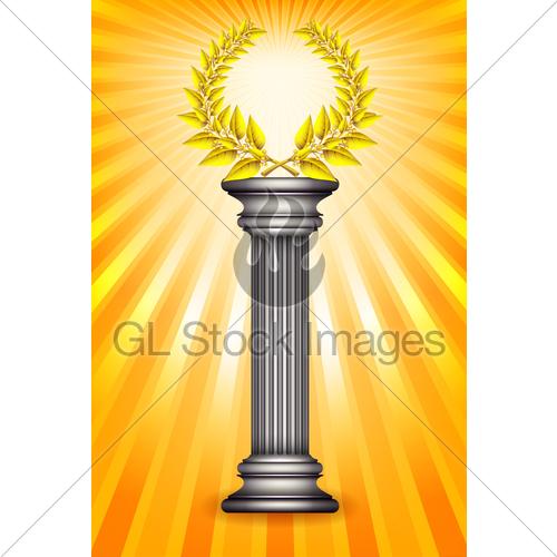 Award Column With Golden Winner Laurel Wreath Over Sun Ra · GL.