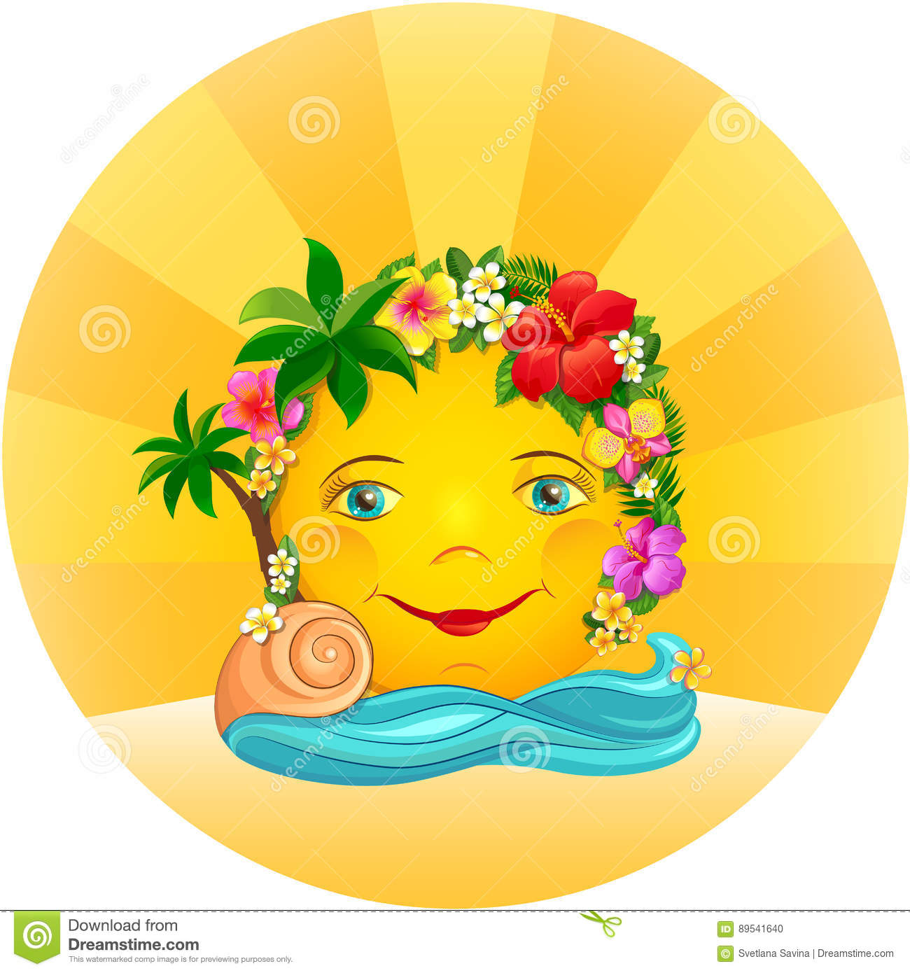 Tropical Sun In A Wreath Of Flowers Stock Vector.