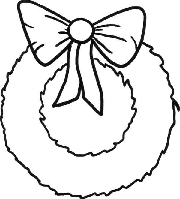 Simple Christmas Wreaths with Ribbon Coloring Pages.