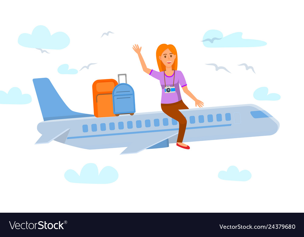 Young woman sitting on airplane flat vector image.