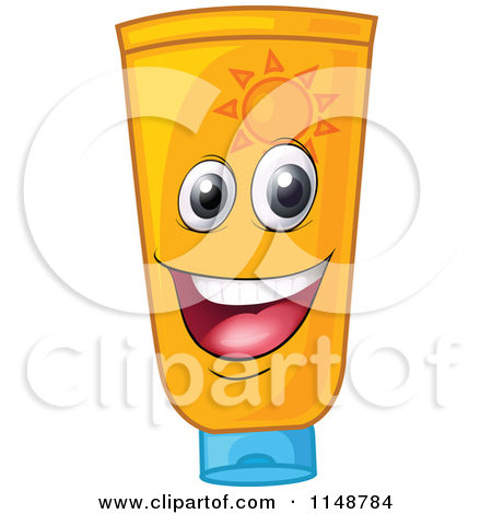 Cartoon of a Happy Sunblock Mascot.