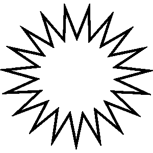 Sunburst clipart black and white.